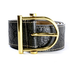 Gucci GUCCI Guccissima Black Leather Belt with Gold Brass Metal Buckle 85 34