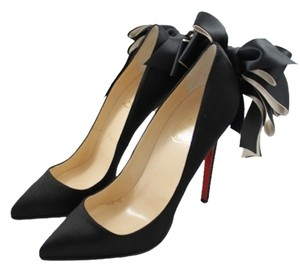 Christian Louboutin Anemone Satin Bow Pointed Toe Narrow Black Pumps