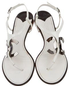 Chanel Ankle Strap Hardware White, Silver Sandals