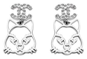 Chanel CHANEL Cat Choupette Lagerfeld Silver Crystal CC Logo Earrings