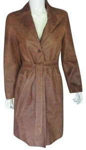 Andrew Marc Leather Belted Leather Trench Trench Coat