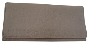 Longchamp Tan Pebbled Leather Veau Foullone Checkbook Wallet