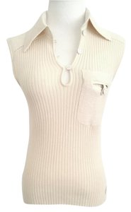 Dior Sleeveless Cream Ribbed Sweater