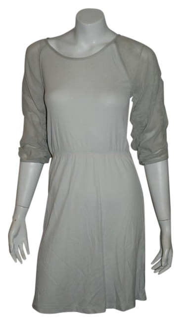 Item - Light Gray 740916 3/4 Sleeve Semi Sheer 38/Us Above Knee Cocktail Dress Size 2 (XS)