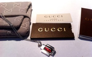 Gucci New Gucci Sterling Silver Cross Necklace With Red Pendant