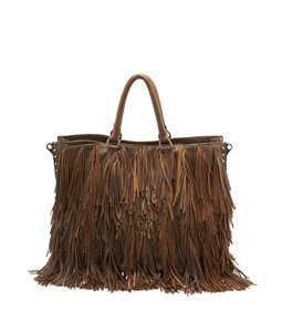Prada Bn1509 Fringe Leather Tote in Brown