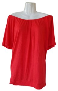 Mango Trendy Off Shoulder Hem Top coral