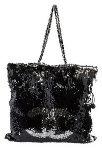 Chanel Summer Night Sequin Tote in Black & Silver