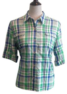 Alfred Dunner Top Green/Blue/White