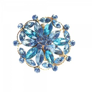 Vintage inspired Gold Tone with Blue Colored Rhinestone Brooch Pin