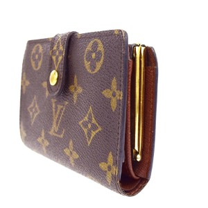 Louis Vuitton Kisslock Viennois Bifold Wallet Purse Monogram Leather M61663