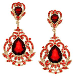 Red Rhinestone Crystal Teardrop Chandelier Drop Dangle Clipon Earrings