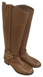Tory Burch Riding Logo Camel Boots