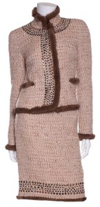 Blumarine Blumarine Tan Tweed 2 Pc Skirt Suit