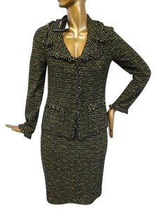 St. John St John Evergreen Tweed Knit Fringe 2pc Jacket Skirt Suit Usa Rt