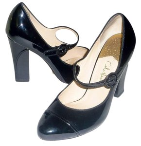 Cole Haan Buckle Patent Leather Chunky Black Pumps