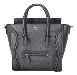 Céline Leather Micro Luggage Tote in Black