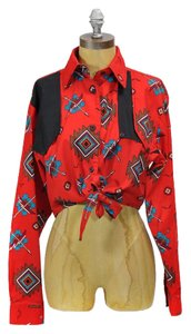 Vintage Rodeo Western Top Red
