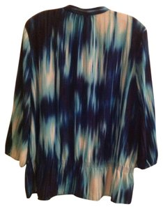 Chico's Peplum Button Up V-neck 3/4 Length Sleeves Top Blue and white