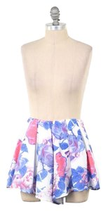 L'ATISTE Soft Floral Pleated Culotte Mini/Short Shorts Pink Rose