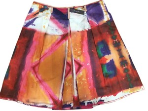 Rachel Roy Cotton Silk Midi Skirt Multi Color