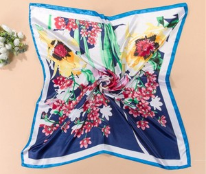 Multi Colored Blue Floral Silk Blend Satin Look Scarf Free Shipping Dress