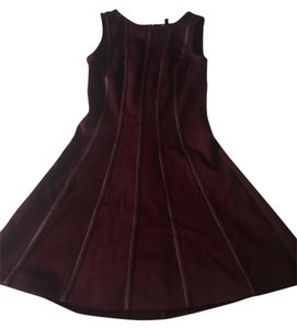 Ann Taylor Faux Leather Deep Red Cocktail Dress
