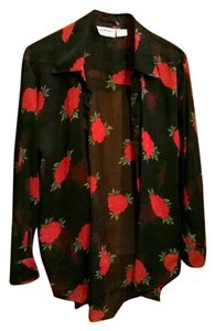 Donna Karan Top Red floral on black background