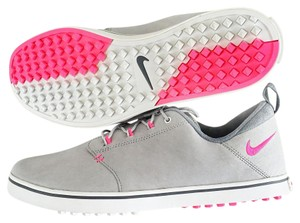 Nike Golf Sneakers Faux Leather Gray pink white Athletic