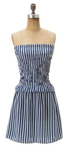 Anthropologie short dress Blue White Striped Bold Stripe Strapless on Tradesy