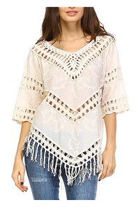 Standard Fashion Show Fringe Tunic Top Ivory