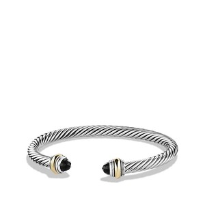David Yurman Cable Classic Bracelet with Black Onyx and and 14k Gold, 5mm (Medium)