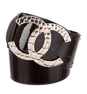 Chanel CC Logo Extra Wide Patent Leather Belt