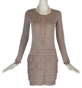BCBGMAXAZRIA short dress Tan/ silver metallic on Tradesy