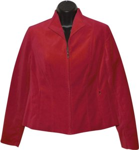 Jones New York Zipper Petite Lined Tapered Red Jacket