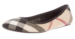 Burberry Nova Check Canvas Round Toe Beige, Black, Red Flats