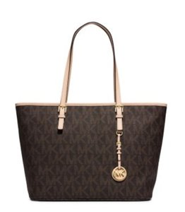 Michael Kors New With Mk Tote in Signature Brown