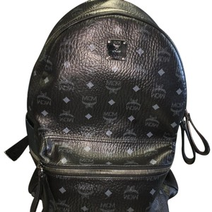 MCM Large Stark Black Leather Backpack Backpack
