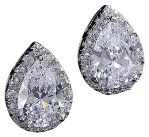 Ladies 3ct Pear Shaped AAA CZ halo Earrings