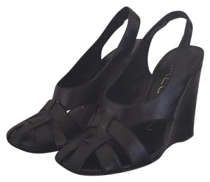Halston Black Wedges