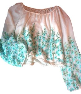 Free People Top Cream, Turquoise, Green
