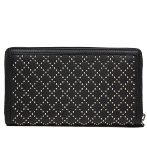 Gucci GUCCI Diamante Studded Black Leather Zip Around Wallet 308021