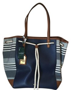 Ralph Lauren Tote in Blue/white/tan