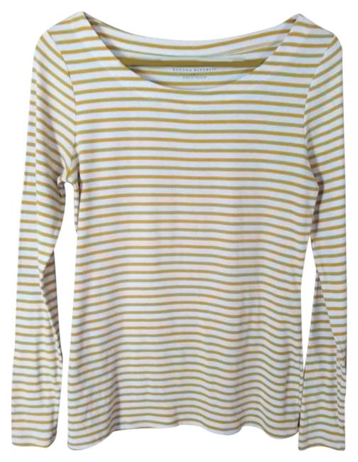 Item - Gold & Cream Stripe Classic Tee Shirt Size 4 (S)