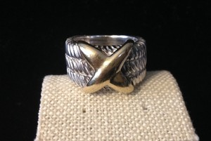 18k And Sterling Cable Ring