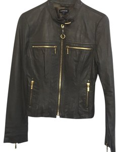 bebe Cropped Moto Zipper Olive Green Leather Leather Jacket