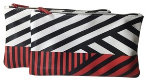 Sephora TWO NEW Sephora Cosmetic Makeup Bags Red White & Black Geometric