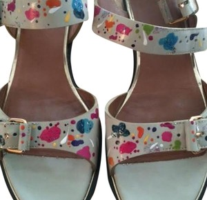 Givenchy Limited Edition Paint Splatter Leather Multicolor/White Sandals