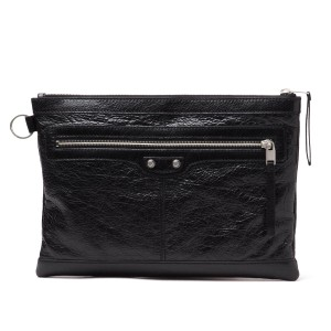 Balenciaga Leather Silver Hardware Lambskin Black Clutch