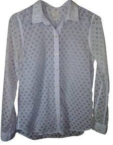 Gap Dot Woven Longsleeve Button Down Shirt White, Sheer Polka Dots